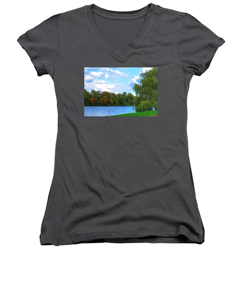 Women's V-Neck T-Shirt (Junior Cut) featuring the photograph Autumn At Hoyt Lake by Michael Frank Jr