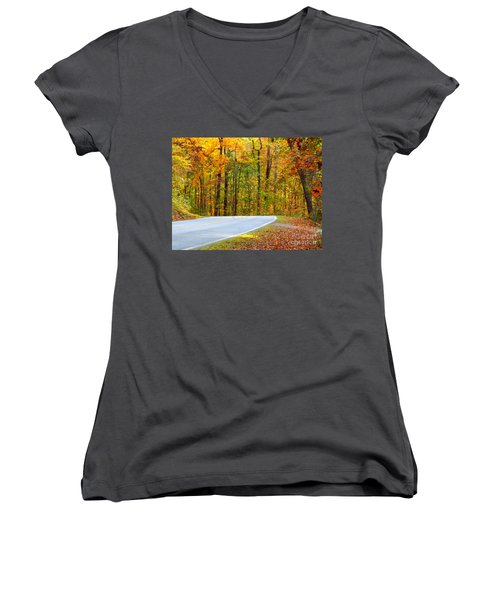 Women's V-Neck T-Shirt (Junior Cut) featuring the photograph Autumn Drive by Lydia Holly