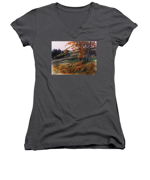 Women's V-Neck T-Shirt (Junior Cut) featuring the painting Autumn Intensity by John Williams