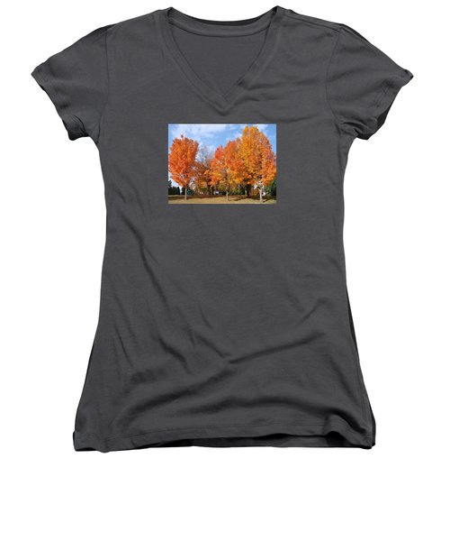 Women's V-Neck T-Shirt (Junior Cut) featuring the photograph Autumn Leaves by Athena Mckinzie