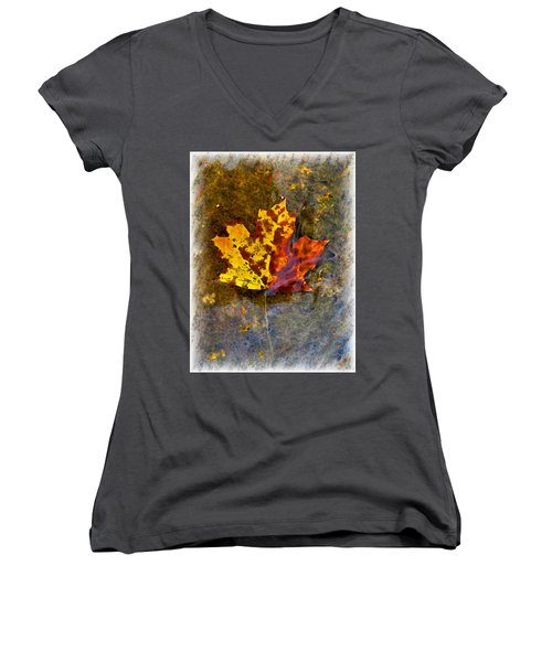 Women's V-Neck T-Shirt (Junior Cut) featuring the digital art Autumn Maple Leaf In Water by Debbie Portwood