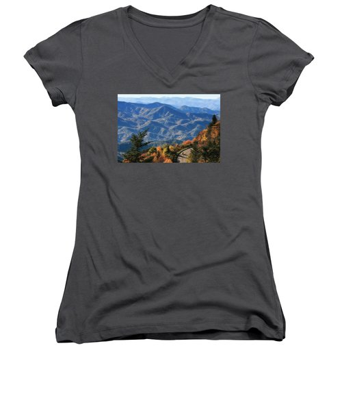 Women's V-Neck T-Shirt (Junior Cut) featuring the photograph Autumn On The Blue Ridge Parkway by Lynne Jenkins