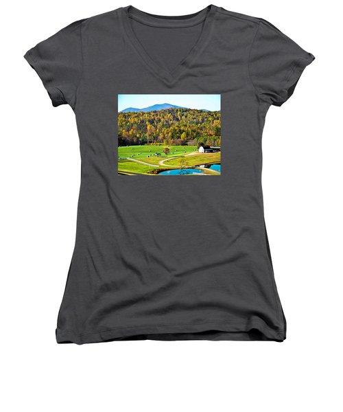 Women's V-Neck T-Shirt (Junior Cut) featuring the photograph Autumn On The Farn by Susan Leggett