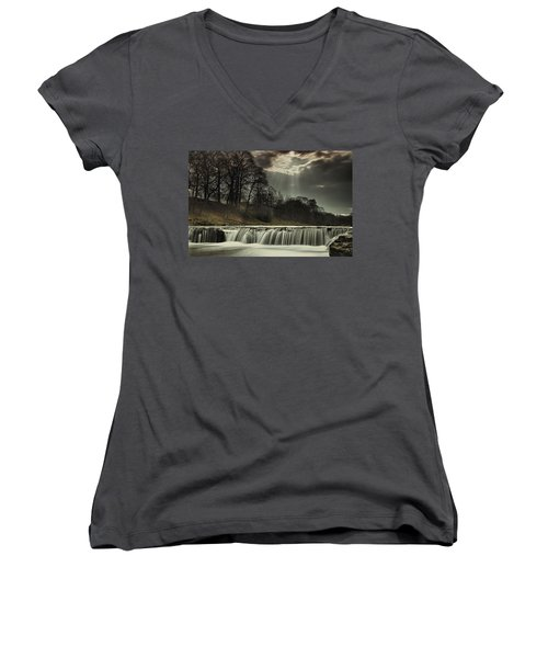 Aysgarth Falls Yorkshire England Women's V-Neck T-Shirt (Junior Cut) by John Short