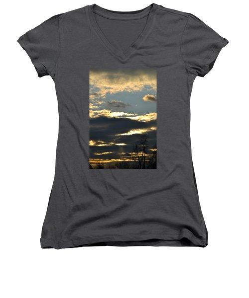 Backlit Clouds Women's V-Neck T-Shirt