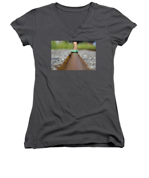 Balance With Her Feet Women's V-Neck
