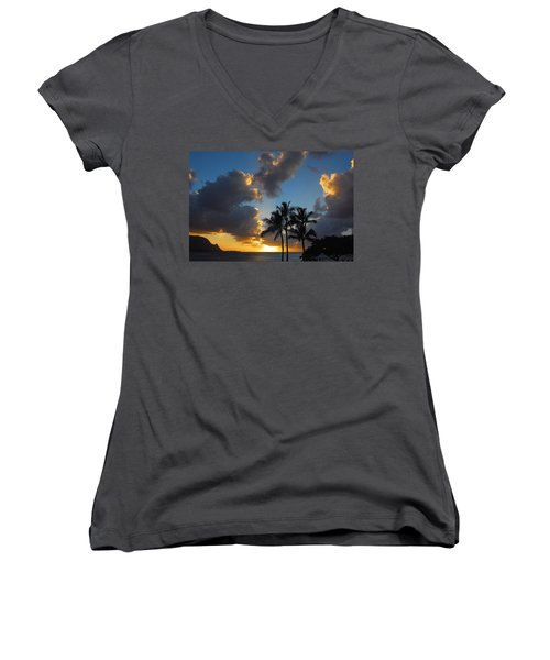Women's V-Neck T-Shirt (Junior Cut) featuring the photograph Bali Hai Sunset by Lynn Bauer