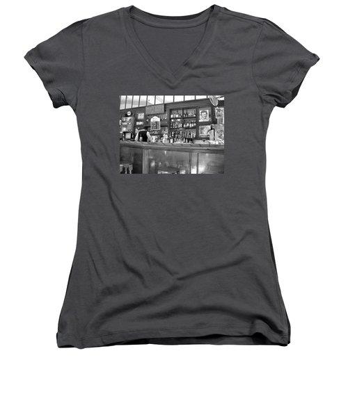 Women's V-Neck T-Shirt (Junior Cut) featuring the photograph Bar In Old Havana by Lynn Bolt