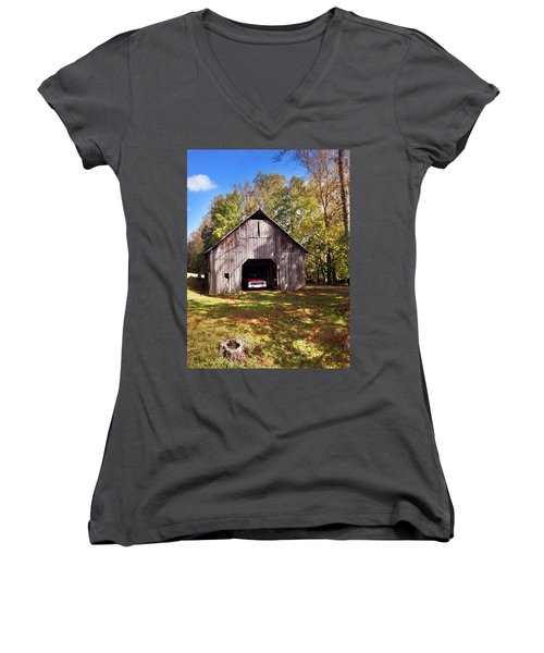Women's V-Neck T-Shirt (Junior Cut) featuring the photograph Barn An Chevy by Janice Spivey