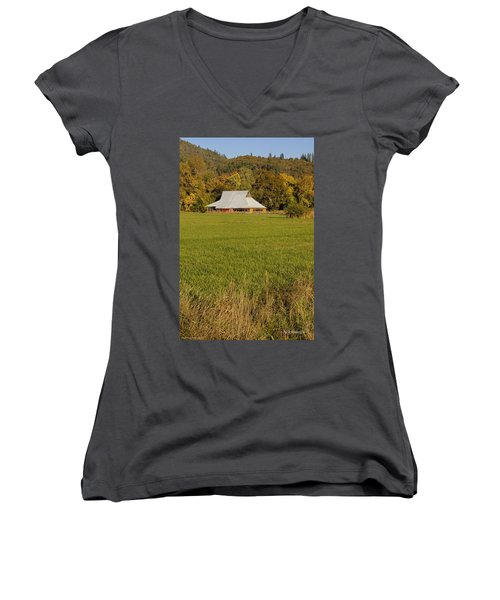 Barn Near Murphy Women's V-Neck T-Shirt (Junior Cut) by Mick Anderson