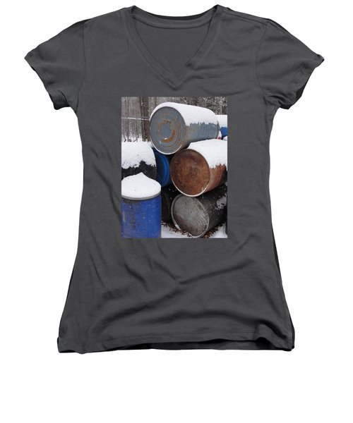 Women's V-Neck T-Shirt (Junior Cut) featuring the photograph Barrel Of Food by Tiffany Erdman
