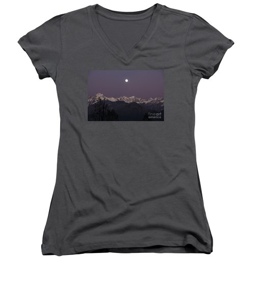 Women's V-Neck T-Shirt (Junior Cut) featuring the photograph Bathed In Moonlight by Fotosas Photography