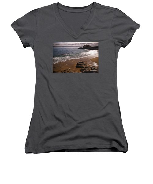 Beach At Monteray Bay Women's V-Neck T-Shirt (Junior Cut) by Darcy Michaelchuk