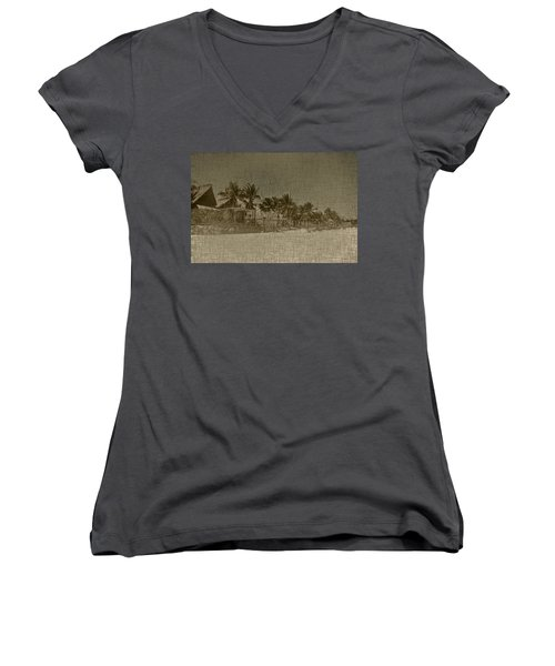 Beach Huts In A Tropical Paradise Women's V-Neck