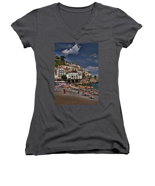 Beach Scene In Amalfi On The Amalfi Coast In Italy Women's V-Neck T-Shirt