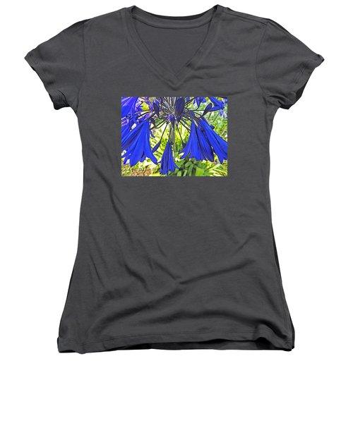 Beautiful Bluebells Close-up Women's V-Neck T-Shirt (Junior Cut) by Anne Mott