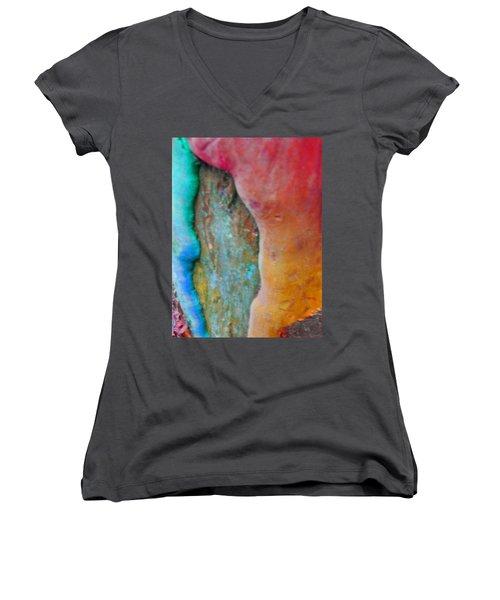 Women's V-Neck T-Shirt (Junior Cut) featuring the digital art Become by Richard Laeton