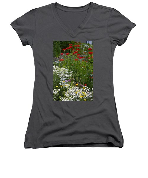 Women's V-Neck T-Shirt (Junior Cut) featuring the photograph Bed Of Flowers by Johanna Bruwer