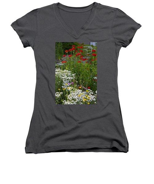 Bed Of Flowers Women's V-Neck T-Shirt (Junior Cut) by Johanna Bruwer
