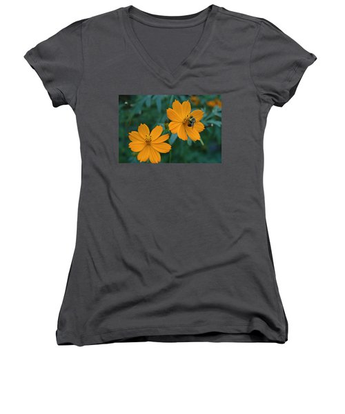 Women's V-Neck T-Shirt (Junior Cut) featuring the photograph Bee On Cosmos Flower  by Tom Wurl