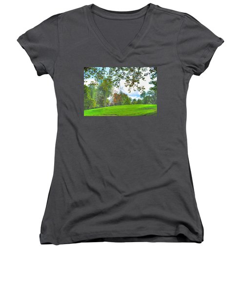 Women's V-Neck T-Shirt (Junior Cut) featuring the photograph Beginning Of Fall by Michael Frank Jr
