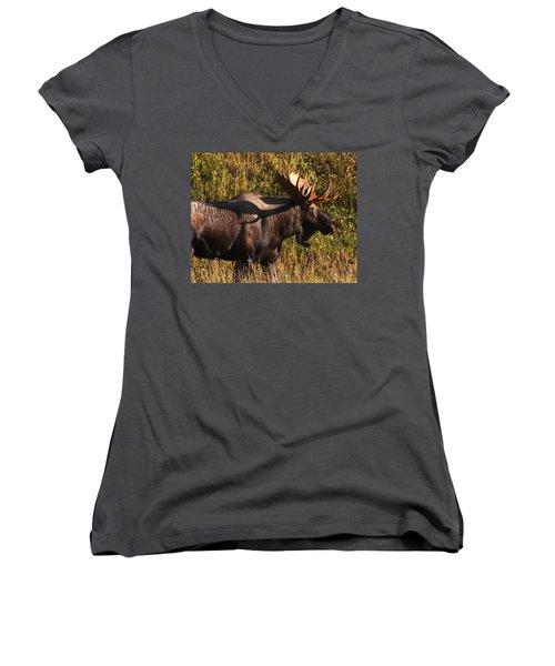 Women's V-Neck T-Shirt (Junior Cut) featuring the photograph Big Bull by Doug Lloyd