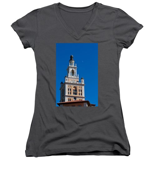 Women's V-Neck T-Shirt (Junior Cut) featuring the photograph Coral Gables Biltmore Hotel Tower by Ed Gleichman