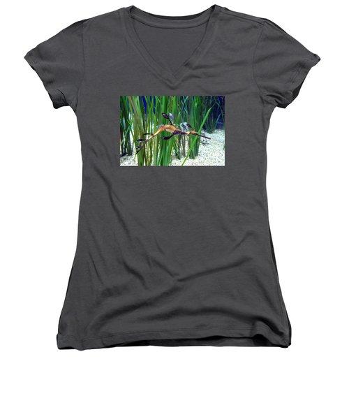 Women's V-Neck T-Shirt (Junior Cut) featuring the photograph Black Dragon Seahorse by Carla Parris
