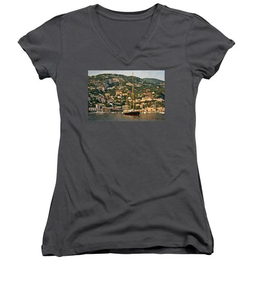Women's V-Neck T-Shirt (Junior Cut) featuring the photograph Black Sailboat by Steven Sparks