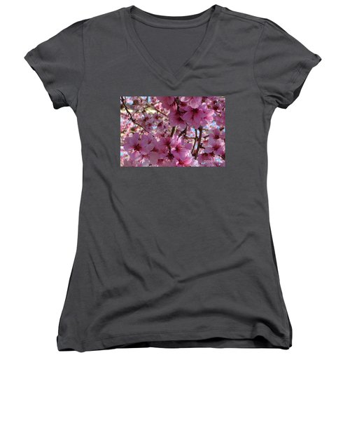 Women's V-Neck T-Shirt (Junior Cut) featuring the photograph Blossoms by Lydia Holly