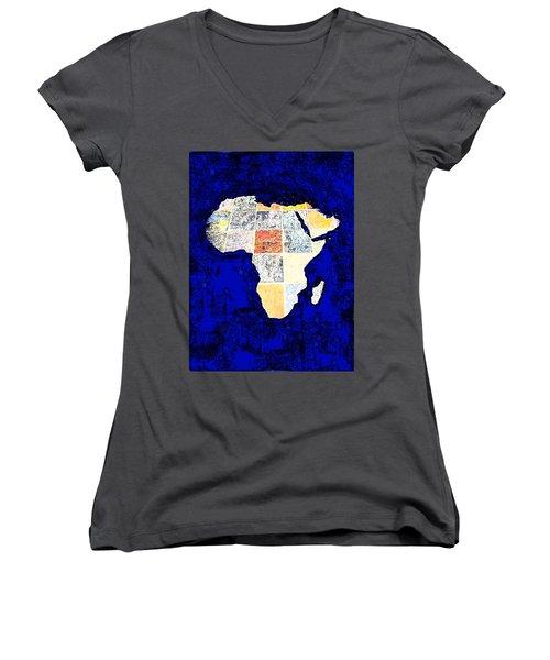 Blue Africa Women's V-Neck T-Shirt (Junior Cut) by Anne Mott