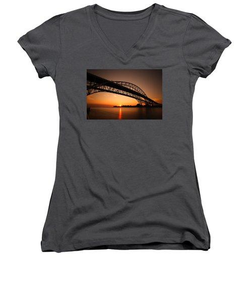 Women's V-Neck T-Shirt (Junior Cut) featuring the photograph Blue Dawn by Gordon Dean II