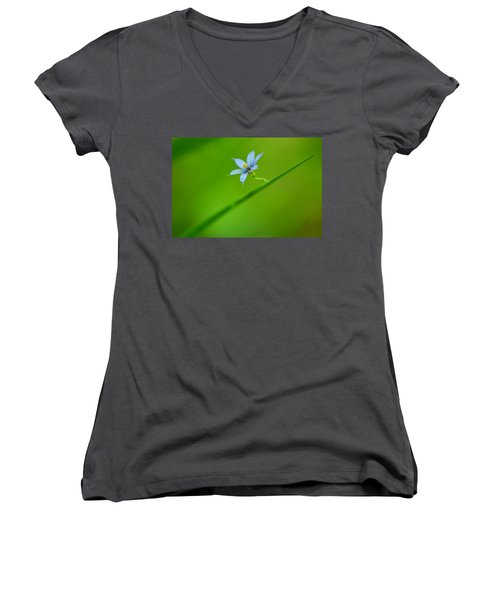 Women's V-Neck T-Shirt (Junior Cut) featuring the photograph Blue-eyed Grass by JD Grimes