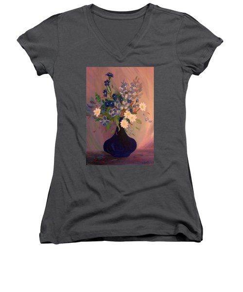 Blue Flowers 2 Women's V-Neck T-Shirt (Junior Cut) by Christy Saunders Church