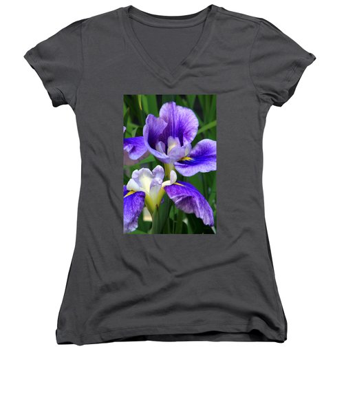 Blue Irises Women's V-Neck (Athletic Fit)