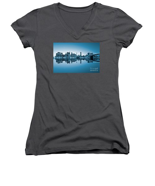 Women's V-Neck T-Shirt (Junior Cut) featuring the photograph Blue New York City by Luciano Mortula
