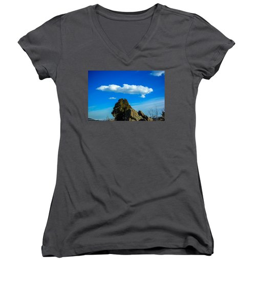 Women's V-Neck T-Shirt (Junior Cut) featuring the photograph Blue Skies by Shannon Harrington