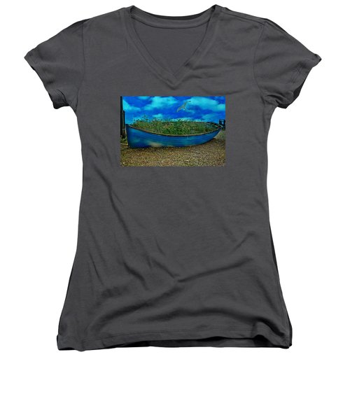 Women's V-Neck T-Shirt (Junior Cut) featuring the photograph Blue Sky Boat  by Chris Lord