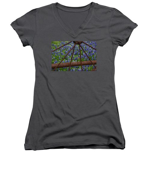 Bluebonnets And Rusted Iron Wheel Women's V-Neck