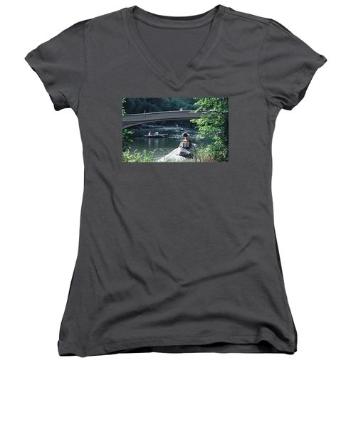 Women's V-Neck T-Shirt (Junior Cut) featuring the photograph Bow Bridge In Central Park Nyc by Tom Wurl