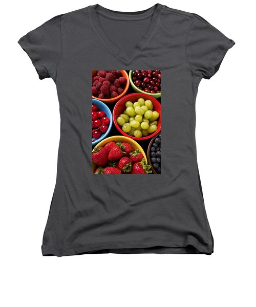 Bowls Of Fruit Women's V-Neck T-Shirt (Junior Cut) by Garry Gay