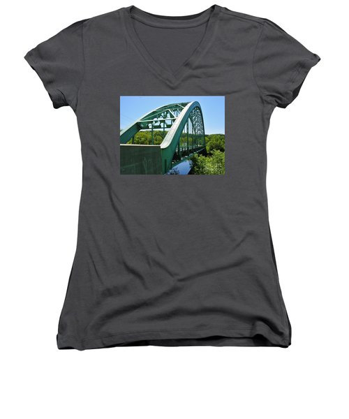Women's V-Neck T-Shirt (Junior Cut) featuring the photograph Bridge Spanning Connecticut River by Sherman Perry