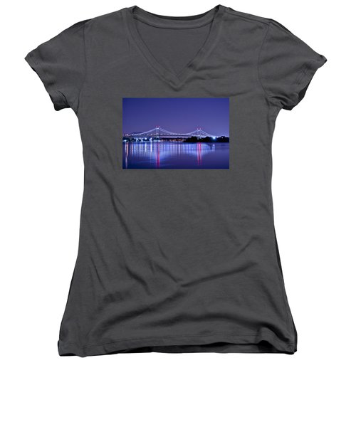 Tri-borough Bridge In Nyc Women's V-Neck