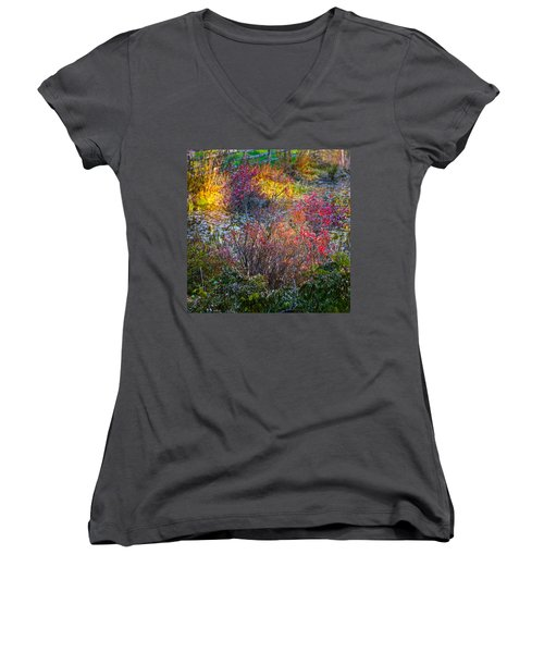 Women's V-Neck featuring the photograph Bright Autumn Light by Byron Varvarigos
