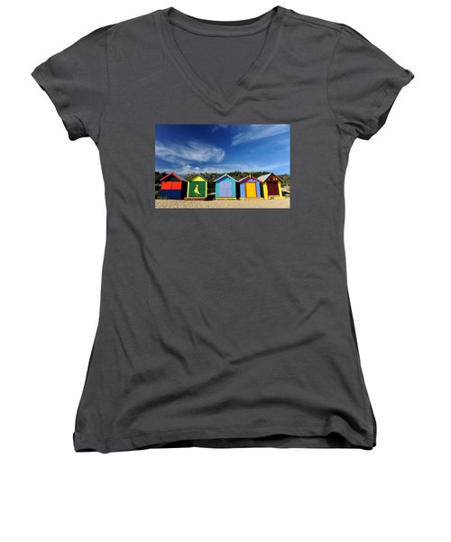 Women's V-Neck T-Shirt (Junior Cut) featuring the photograph Brighton Beach by Yew Kwang