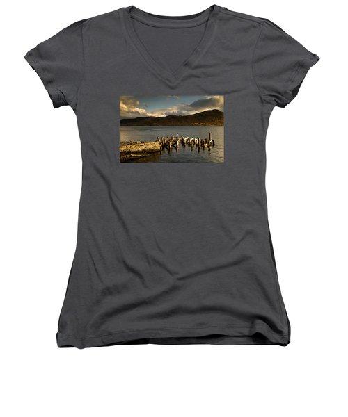 Women's V-Neck T-Shirt (Junior Cut) featuring the photograph Broken Dock, Loch Sunart, Scotland by John Short