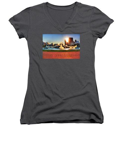Buckingham Fountain Women's V-Neck T-Shirt (Junior Cut) by Dan Stone