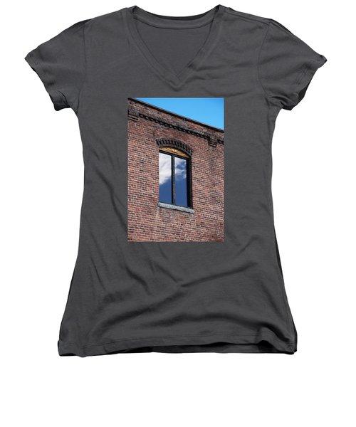 Women's V-Neck T-Shirt (Junior Cut) featuring the photograph Building Series - Sky Views by Kathleen Grace