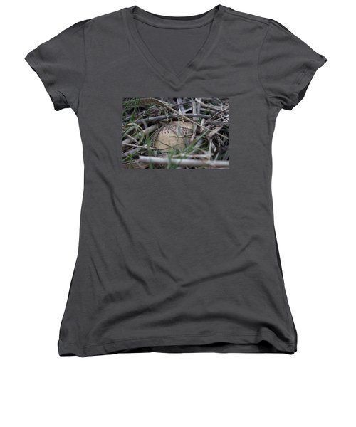 Women's V-Neck T-Shirt (Junior Cut) featuring the photograph Buried Baseball by Stephanie Nuttall