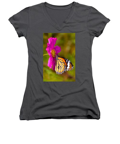 Butterfly II Women's V-Neck T-Shirt (Junior Cut) by Fotosas Photography